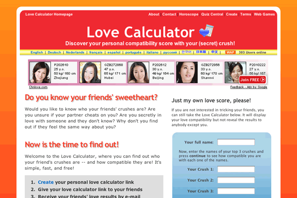 LoveCalculator be Overview